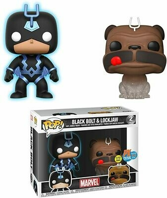 Entertainment Earth Marvel Teleporting Lockjaw & GITD Black Bolt Pop! 2-PK Px