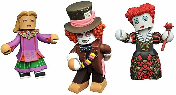 MPreview Alice Through The Looking Glass Vinimates Collection Set of 3 Vinyl Figures - Mad Hatter, Alice and Red Queen