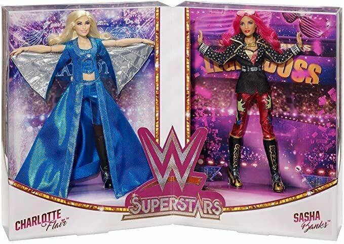 SDCC 2017 Exclusive WWE Superstars Sasha Banks and Charlotte Flair Doll Set