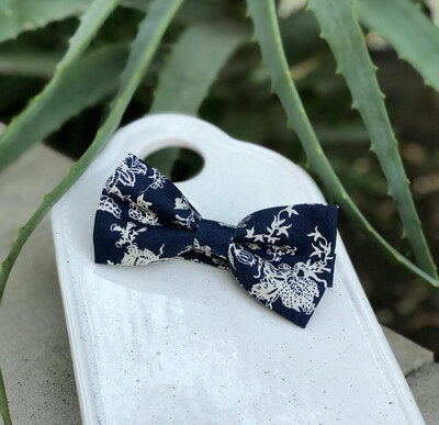 Navy and White Floral Bowtie