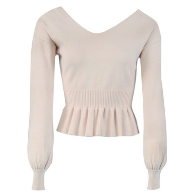 Nude Peplum Knit Sweater