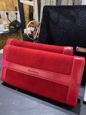 Anni King Suede & Leather Wallet (slightly damaged)