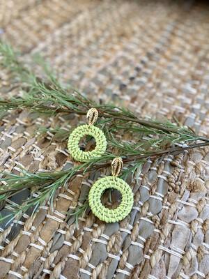 Lime Ratan shell earrings