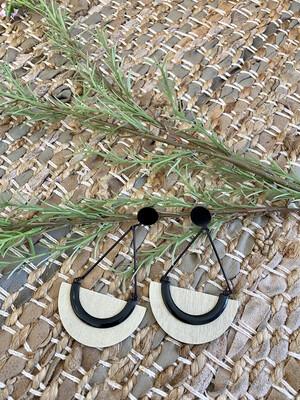 Metal & Wood Chandelier earrings