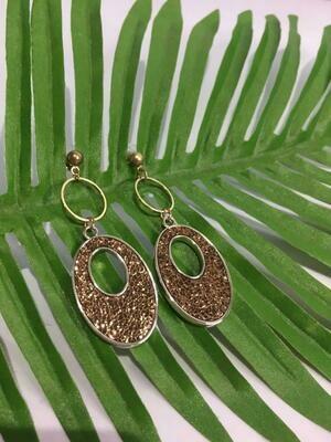 Brown Double Circle Earrings
