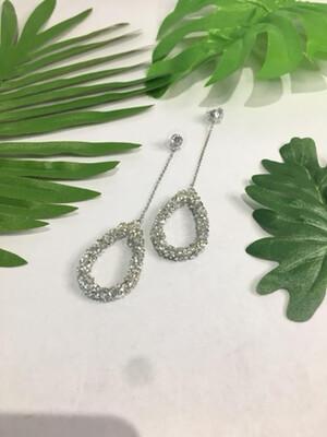 Silver Cluster Drop Earrings