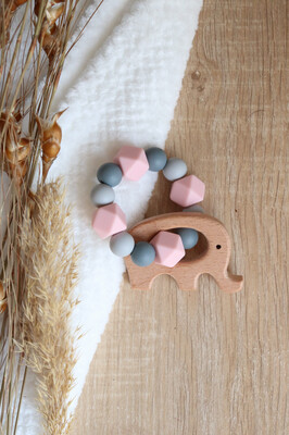 Pink & Grey Silicone Teether