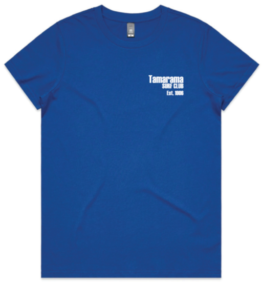 Classic tee - Womens Royal Blue with white print- orders close 8 March 2021
