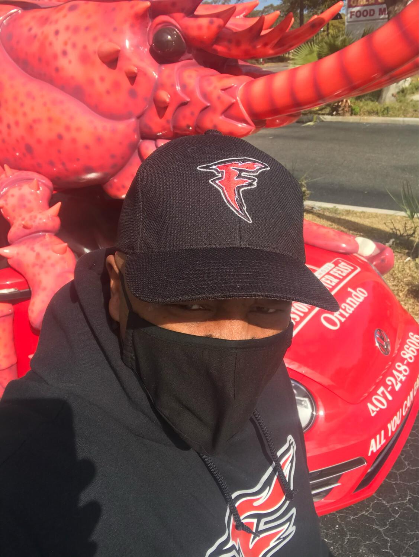 "Official Black W/ Red Centered Team Color ""F"" Logo Baseball Cap"