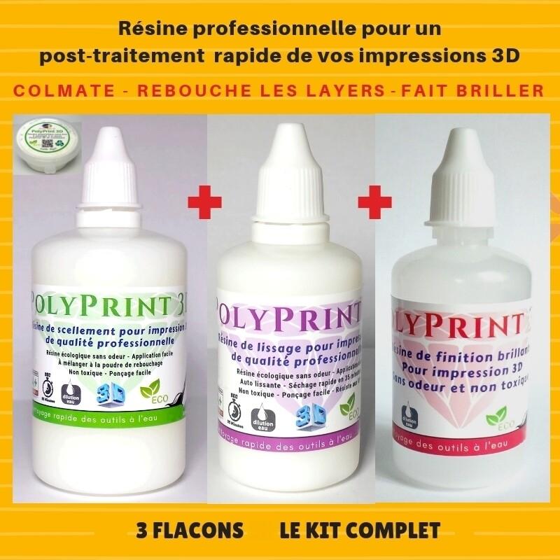 Kit complet, 3 flacons de résine professionnel de 120 ml