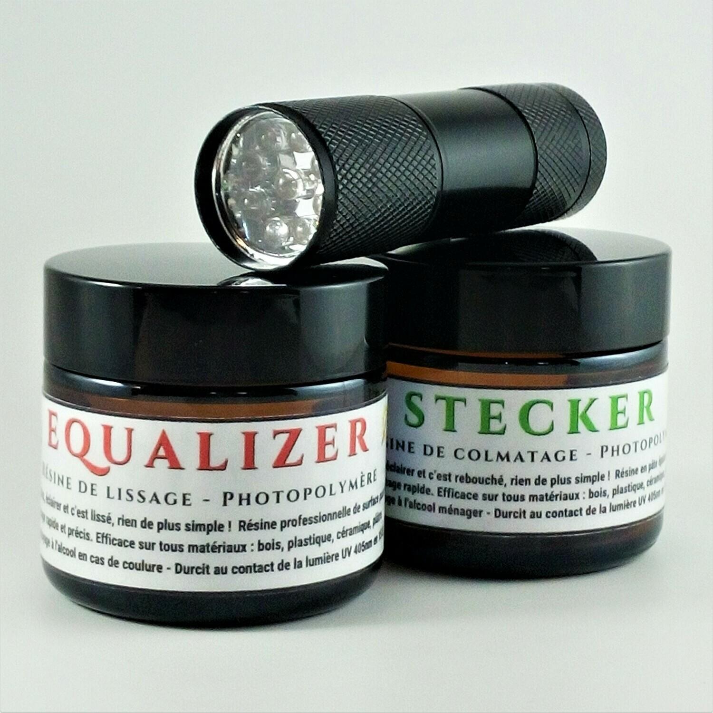 Résine Photo-Polymère de Lissage et de Colmatage en 15 s DUO 60 g +  Mini-torche UV