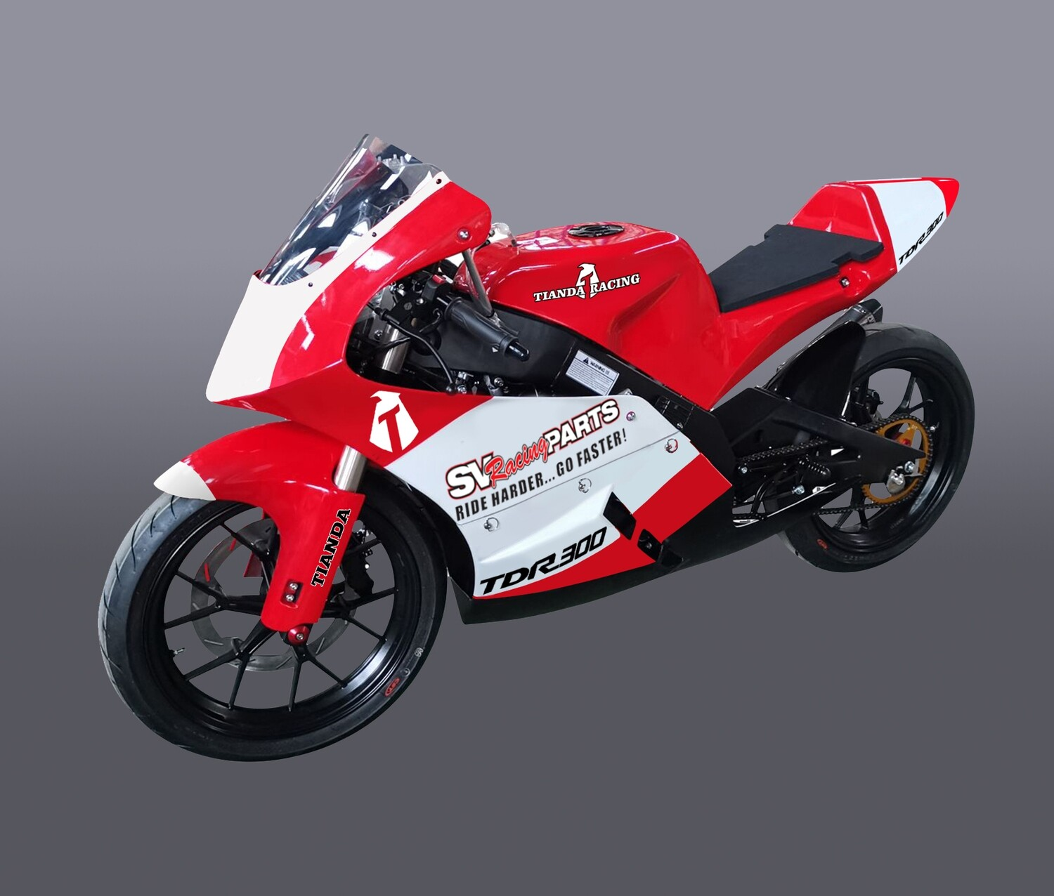Tianda TDR 300 GP Style Race Bike, 17 Inch Race Wheels, Electric Start, Six Speed Transmission;