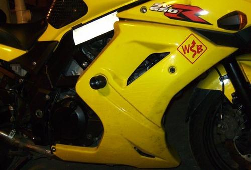 MotoSliders SV650sf Model No Cut Frame Sliders for Full OEM Fairing Gen 2 SV650 Models