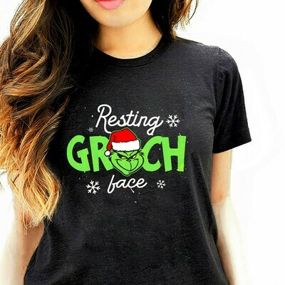 Resting Grinch Face The Grinch Stole Christmas Movie Watching Shirt Merry GrinchMas Xmas T-Shirt Long Sleeve Hoodie Sweatshirt