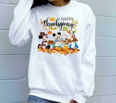 Disney Mickey Minnie Happy Thanksgiving Matching Family Disney Family Pilgrim Shirts,Thanksgiving Family Shirt,Disney Turkey T-Shirt