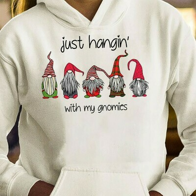 Just Hangin' With My Gnomies Funny Christmas Dwarf Gift T-Shirt,Gnomes Holiday Tee,Adult Christmas,Gnome Christmas tee,Gnome elf shirt T-Shirt Long Sleeve Hoodie Sweatshirt