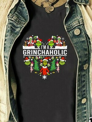 I'm A Grinchaholic,The Grinch Resting Grinch Face Merry Christmas Xmas Holiday Family Gift Friends Team Party T-Shirt Long Sleeve Hoodie Sweatshirt