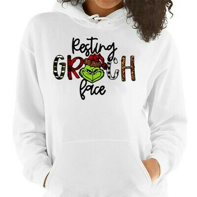 The Grinch Resting Grinch Face Merry Christmas Xmas Gifts Noel Holly Jolly Holiday Family Vacation Friends Team Party T-Shirt Long Sleeve Hoodie Sweatshirt