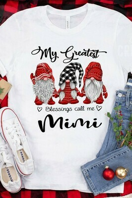 Three Gnomes Shirt My Greatest Blessings Call Me Mimi Gnome Lovers Tee Gnome Heart t shirt Gnome Christmas T-Shirt Gifts Jolly Family Gifts