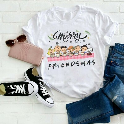 Merry Friendsmas Snoopy Charlie Brown And Peanuts Friends Halloween Costume,Love Cartoon Gifts Best Friends Family Party Vacation T-Shirt Jolly Family Gifts