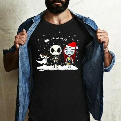 Jack Skellington Sally Zero Merry Christmas The Nightmare Before Christmas Halloween Disney Villains Halloween Mickey Not So Scary T-Shirt Jolly Family Gifts