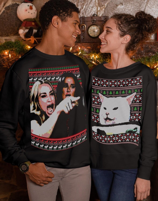Woman vs Cat Meme Woman Yelling At Cat Ugly Christmas Sweater Funny Meme Xmas Sweatshirt Cat Lover Sweater Party Christmas Party T-Shirt Jolly Family Gifts