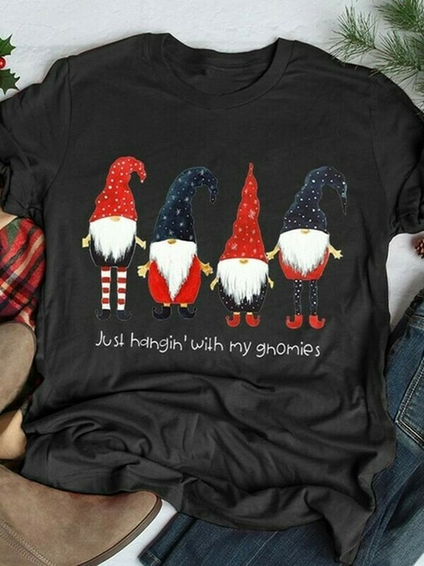 Just Hangin' With My Gnomies Funny Christmas Dwarf Gift T-Shirt,Gnomes Holiday Tee,Adult Christmas,Gnome Christmas tee,Gnome elf shirt Jolly Family Gifts
