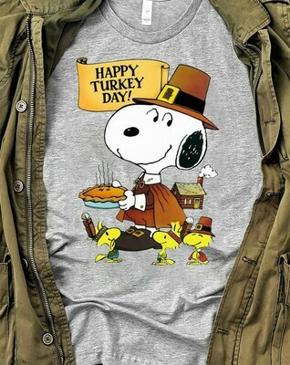 Happy Turkey Day,Peanuts Happy Thanksgiving Shirt,Charlie Brown Snoopy Turkey,Fall Tee,Thankful Grateful Blessed Long Sleeve Sweatshirt Hoodie Jolly Family Gifts