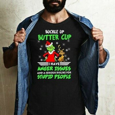 Grinch Thanksgiving Shirt Buckle Up Butter Cup I Have Anger Issues,Grinch Face Shirt,Resting Grinch Face Shirt,Grinch Christmas Shirt Gifts Long Sleeve Sweatshirt Hoodie Jolly Family Gifts