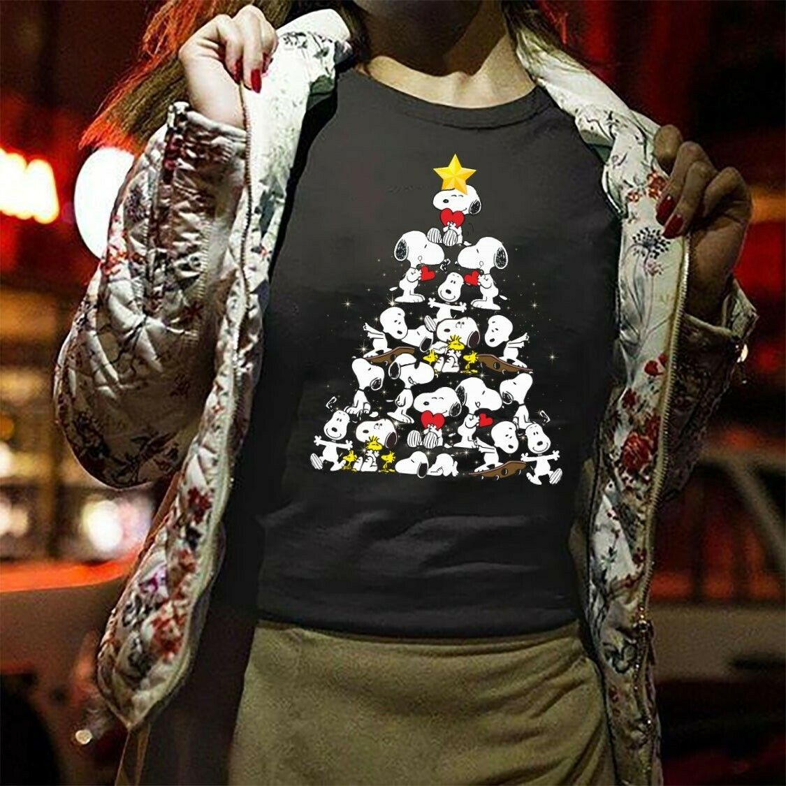 Christmas Tree Snoopy Shirt Gifts For Lovers Christmas Noel XMas Family Vacation Holiday Friends Team Party T-Shirt Long Sleeve Sweatshirt Hoodie Jolly Family Gifts