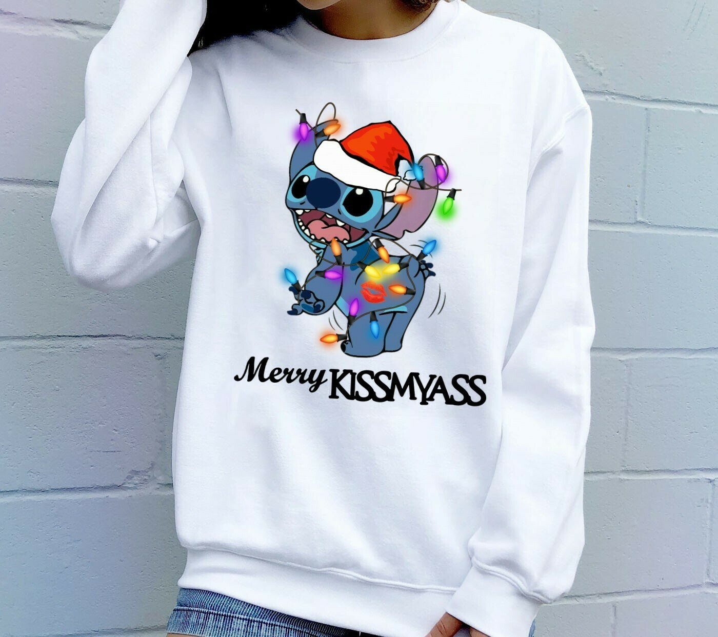 The Stitch Is This Jolly Enough Merry Kissmyass Gift For Lovers Merry Christmas Noel Family Vacation Friends Team Party T-Shirt Long Sleeve Sweatshirt Hoodie Jolly Family Gifts