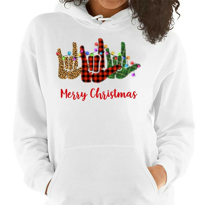 I Love You ASL Light Merry Christmas,ASL Love,ASL Love Shirt,Sign Language,Sign Love Shirt,I Love You Sign,Tank Top,Sweatshirt,Hoodie Long Sleeve Sweatshirt Hoodie Jolly Family Gifts