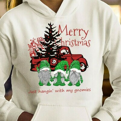 Car Truck With Three Gnomes Shirt Hangin' With My Gnomies Merry Christmas Gnome Lovers Tee Gnome Heart t shirt Gnome Christmas T-Shirt Gifts Long Sleeve Sweatshirt Hoodie Jolly Family Gifts
