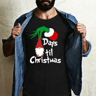 The Grinch and Gnomes Days Til Christmas Resting Grinch Face Merry Christmas Gifts Noel Holly Jolly Holiday Family Vacation Friends T-Shirt Long Sleeve Sweatshirt Hoodie Jolly Family Gifts