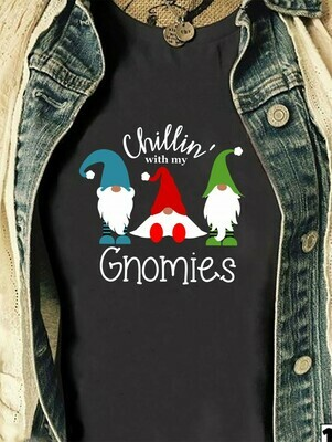 Chillin With My Gnomies Three Gnomes Shirt Hangin' With My Gnomies Gnome Lovers Tee Gnome Heart t shirt Gnome Christmas T-Shirt Gifts Long Sleeve Sweatshirt Hoodie Jolly Family Gifts