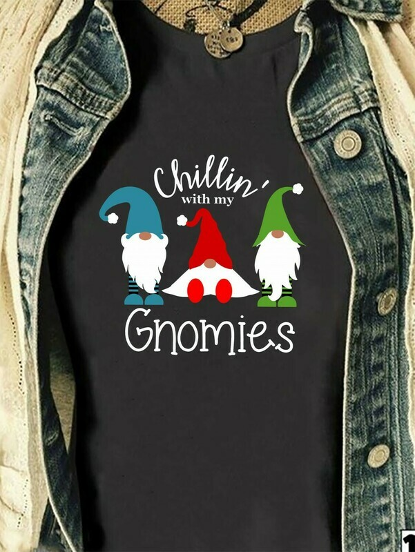 Chillin With My Gnomies Three Gnomes Shirt Hangin' With My Gnomies Gnome Lovers Tee Gnome Heart t shirt Gnome Christmas T-Shirt Gifts Long Sleeve Sweatshirt Hoodie Jolly Family Gifts