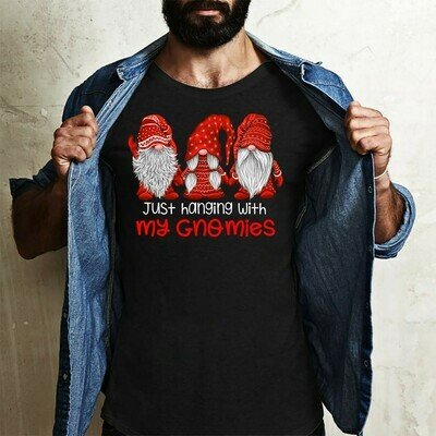 Three Gnomes Shirt Hangin' With My Gnomies Gnome Lovers Tee Gnome Heart t shirt Gnome Christmas T-Shirt Gifts Long Sleeve Sweatshirt Hoodie Jolly Family Gifts