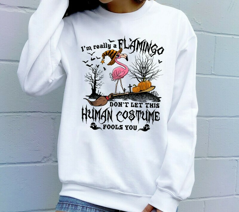 I'm Really A Flamingo Don't Let This Human Costume Fools You Halloween Pumpkin Witch Ghost Bat Family Vacation Team Party Gifts T-Shirt Long Sleeve Sweatshirt Hoodie Jolly Family Gifts