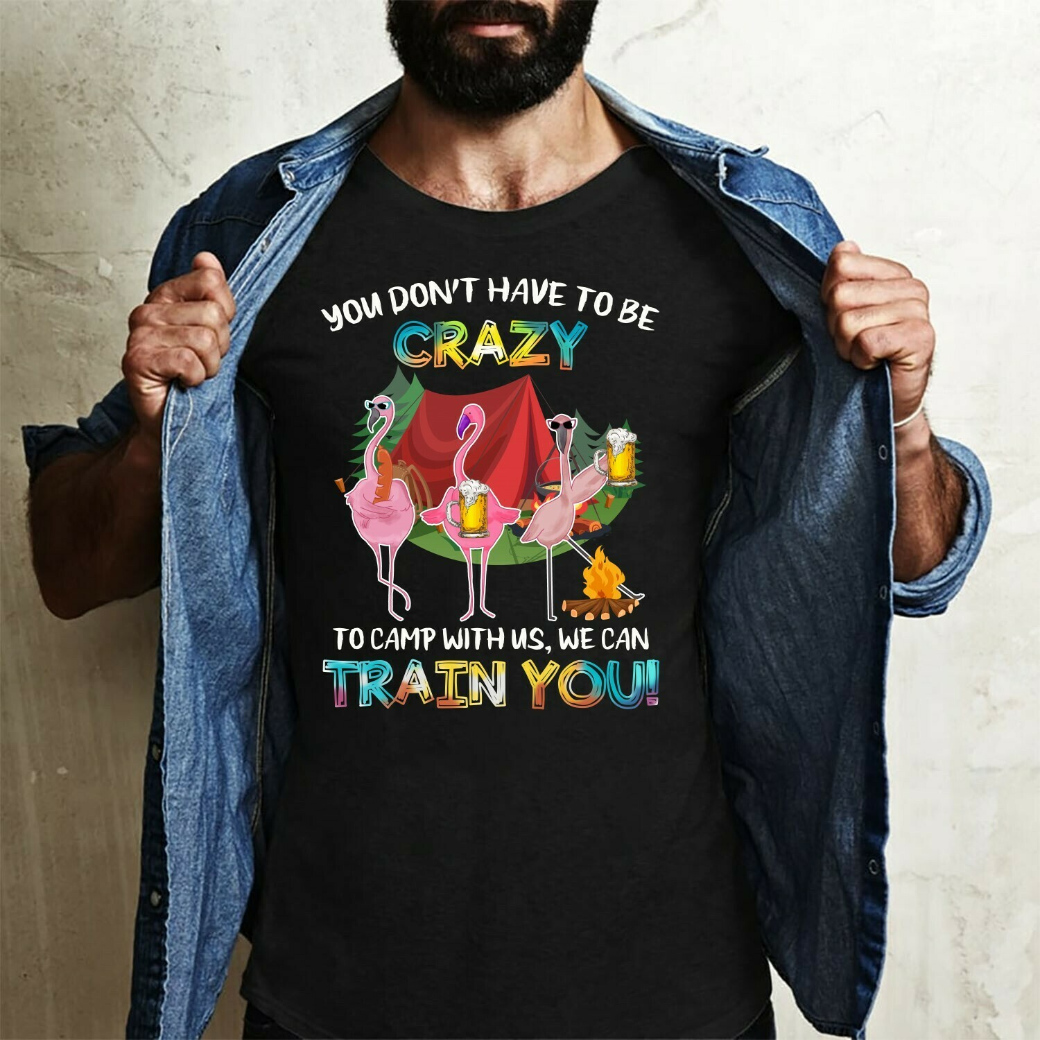 Flamingo Camping you don't have to be crazy to camp with us we can train you,hiking lover, flamingo campers drink beers,flamingo team party Long Sleeve Sweatshirt Hoodie Jolly Family Gifts