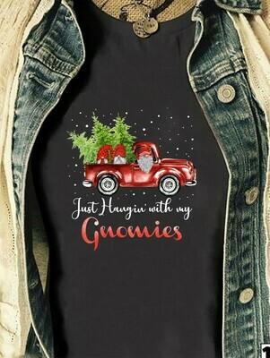 Three Gnomes Shirt,Christmas Truck Shirt,Just Hangin' With My Gnomies,Gnome Lovers Tee Gnome Heart t shirt Gnome Christmas T-Shirt Gifts Long Sleeve Sweatshirt Hoodie Jolly Family Gifts