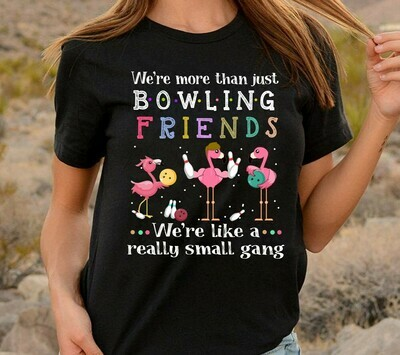 Flamingo We're more than just bowling friends We're like a really small gang Gifts T-Shirt for women lady glasses Long Sleeve Sweatshirt Hoodie Jolly Family Gifts
