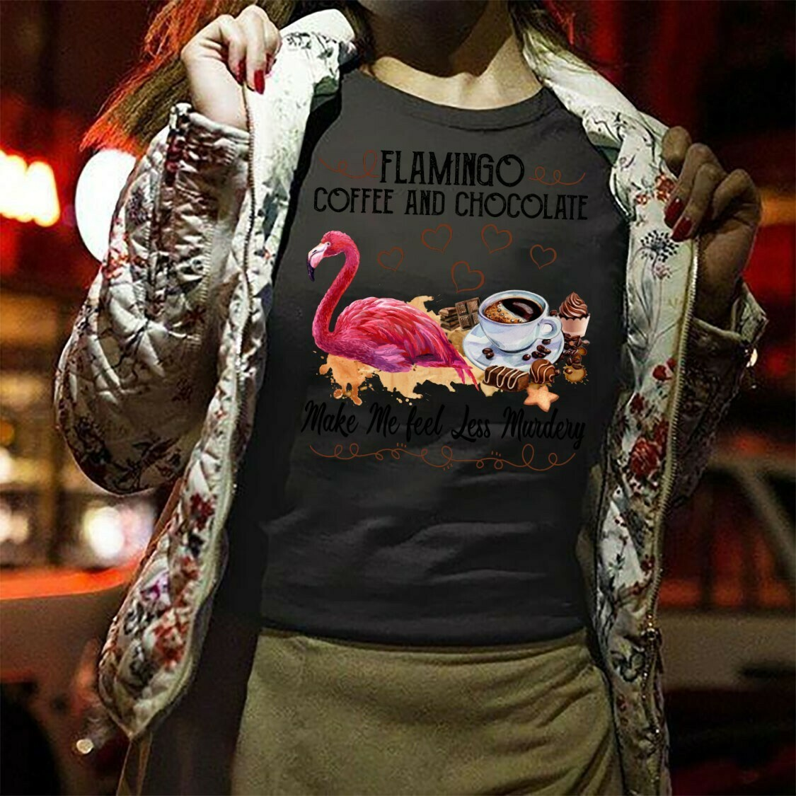 Flamingo Coffee And Chocolate Make Me Feel Less Murdery gift for Who Addicted To Coffee,Chocolate, Lover Flamingo coffee chocolate shirt Long Sleeve Sweatshirt Hoodie Jolly Family Gifts