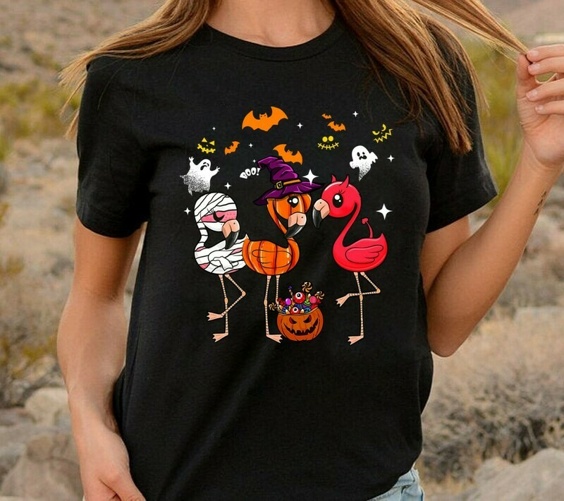Flamingo Halloween Pumpkin Witch Ghost Bat Family Vacation Team Group Party Gifts T-Shirt Long Sleeve Sweatshirt Hoodie Jolly Family Gifts