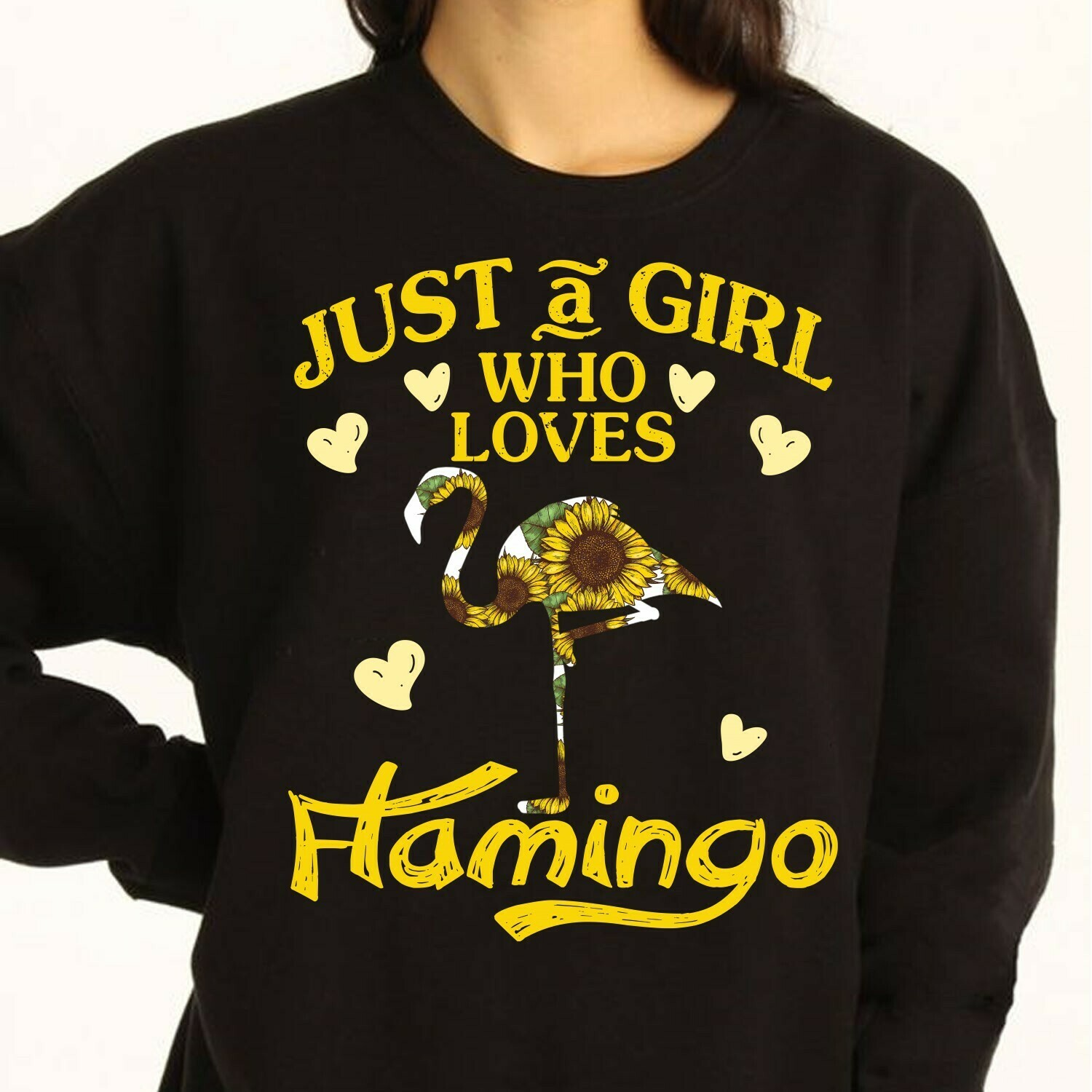Just A Girl Who Loves Flamingo gift for lovers Sunflower Flamingo life,Girls Flamingo Shirt,Cute Flamingo Gift Idea Long Sleeve Sweatshirt Hoodie Jolly Family Gifts