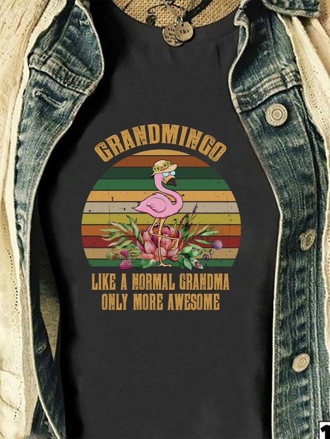 Grandmingo like a normal grandma only more awesome Flamingo Grammingo Gift for mama grandma nana momlife from son daughter husband T Shirt Long Sleeve Sweatshirt Hoodie Jolly Family Gifts