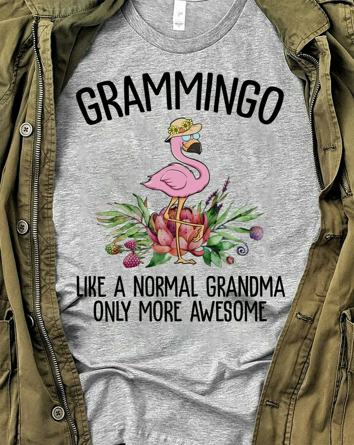 Flamingo Grammingo Like a normal grandma only more awesome Gifts T-Shirts for Nana Grandmother Mother Mom Family Vacation Shirt Tee Long Sleeve Sweatshirt Hoodie Jolly Family Gifts