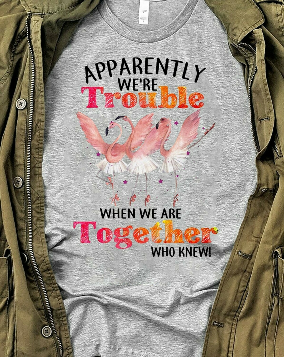 Apperenlly we are Trouble when we are Together who knew, Flamingo team party, Flamingo gang funny birthday gift T-shirt Long Sleeve Sweatshirt Hoodie Jolly Family Gifts