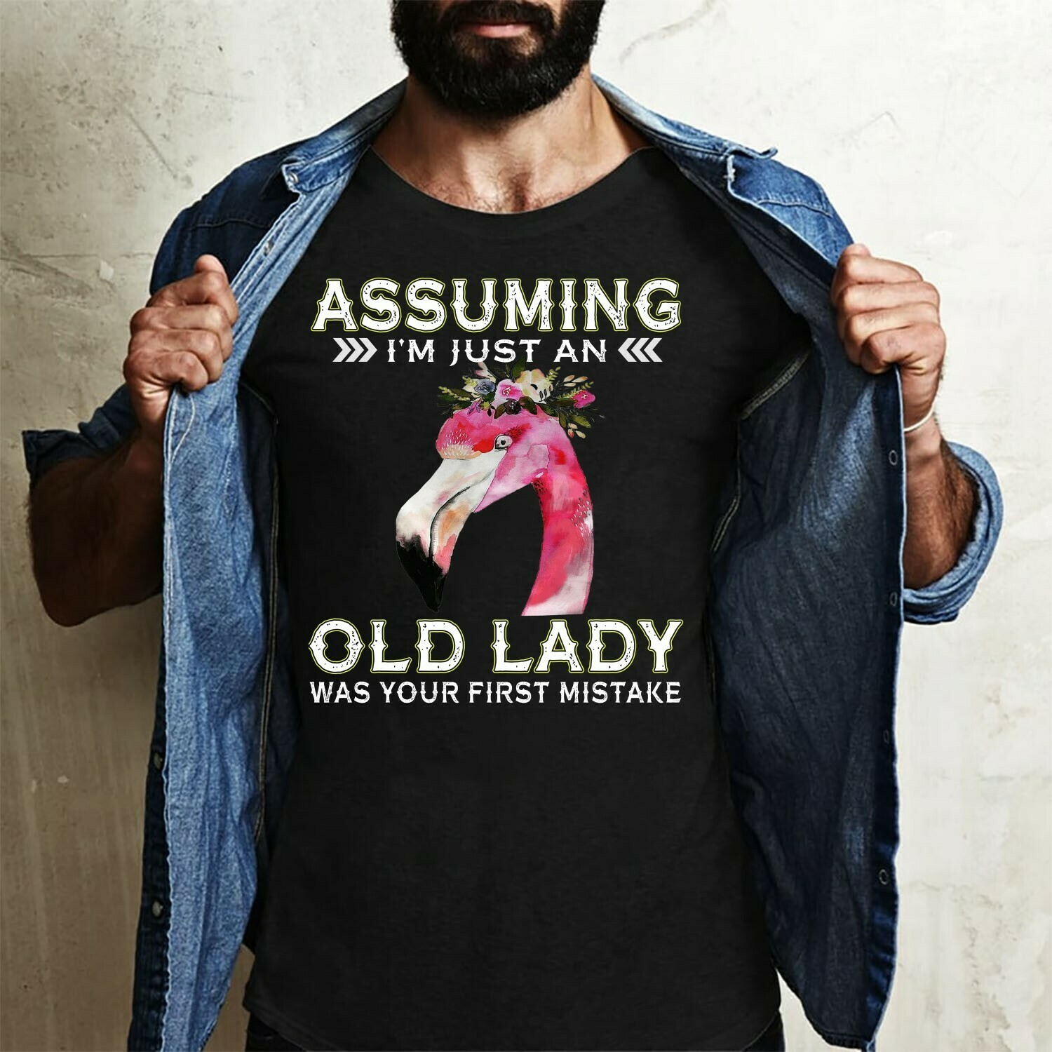 Assuming I'm Just An Old Lady Was Your First Mistake Gift for Lovers Pink Flamingo life, Girls Flamingo Flower Shirt,Lady Flamingo Gift Idea Long Sleeve Sweatshirt Hoodie Jolly Family Gifts