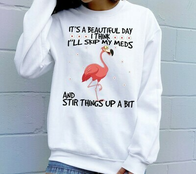 Flamingo It's a beautiful day I think I'll skip my meds And Stir Things Up A bit Gift shirt for Best Friends Team Group Girls Best Friends Long Sleeve Sweatshirt Hoodie Jolly Family Gifts
