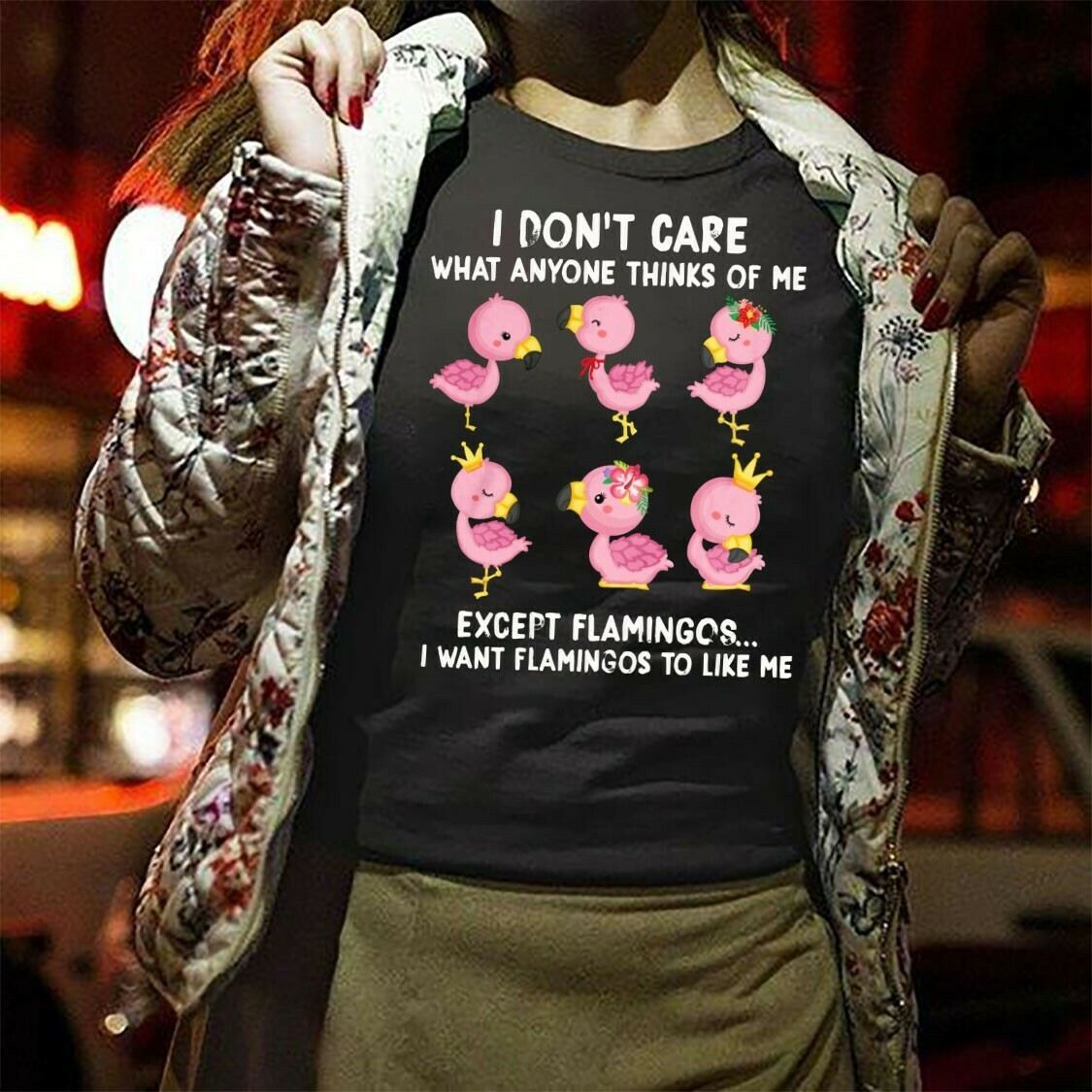 I Don't Care What Anyone Thinks Of Me Except Flamingos gift for lovers Pink Flamingo life, Girls Flamingo Shirt,Cute Flamingo Long Sleeve Sweatshirt Hoodie Jolly Family Gifts